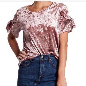 Pleione Pink Velvety Velvet Short Sleeve top shirt